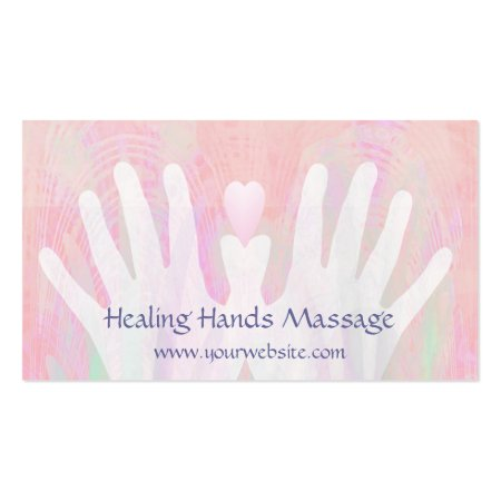 Pink and White Heart Healing Hands Massage Therapist Business Cards