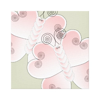 Pink / White Heart Butterfly Sage Green Canvas Art