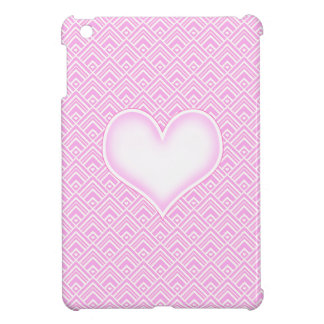 Pink & White Heart Chevron Zig Zag Lace Pattern iPad Mini Covers