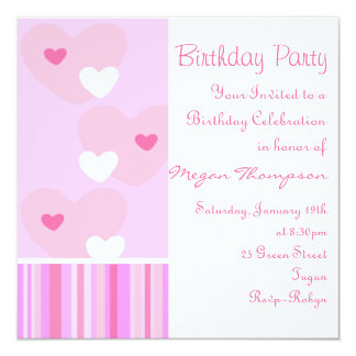Pink & White Heart Design Birthday Invitation