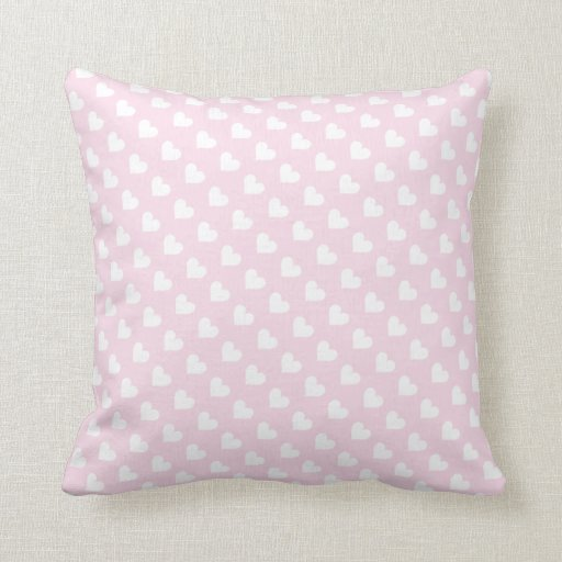 Pink & White Heart Pattern Throw Pillow Zazzle