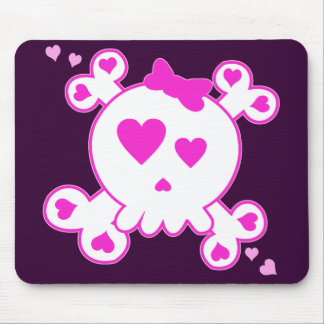 PINK & WHITE HEART SKULL & CROSSBONES MOUSE PAD