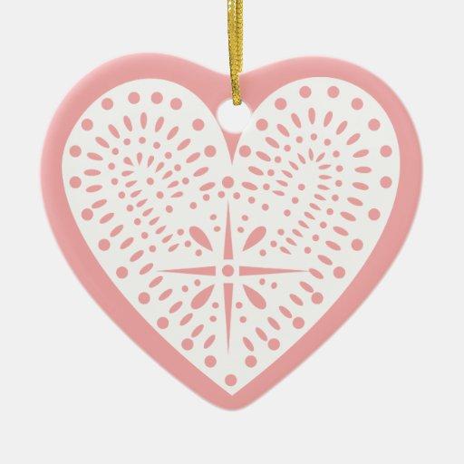 Pink White Heart Valentine's Ornament
