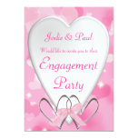 Pink & White Heart Wedding - Engagement Invitation