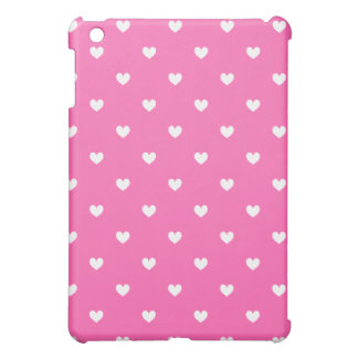 Pink & White Hearts Patterned iPad Mini Case