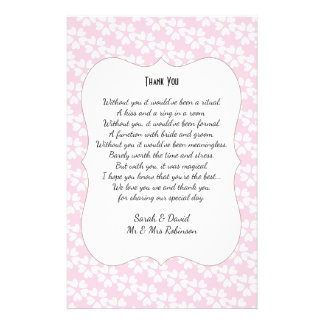 Pink White Hearts Wedding Poem Thank You Scroll Flyer