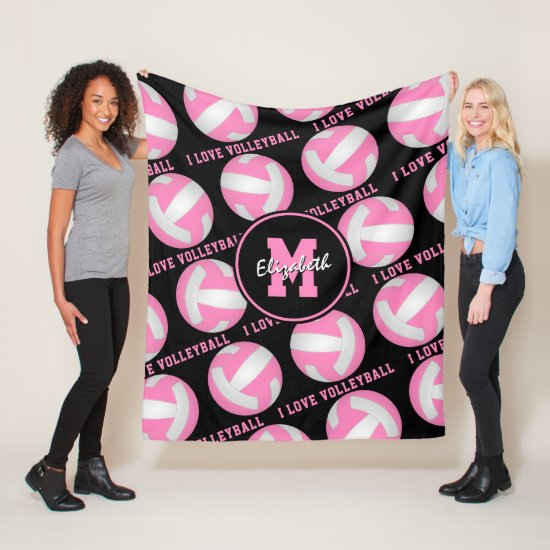 pink white her I love volleyball sports room Fleece Blanket
