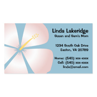 Pink / White Hibiscus Flowers Mommy Contact Card Double-Sided Standard Business Cards (Pack Of 100)