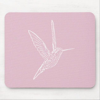 Pink & White Hummingbird Mouse Pad