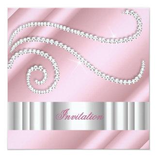 Pink White Jewel diamonds Silver Birthday Party Card