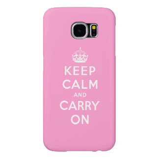 Pink White Keep Calm and Carry Samsung Galaxy S6 Cases