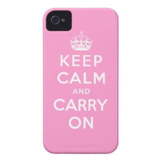 Pink White Keep Calm and Carry On iPhone 4 Case