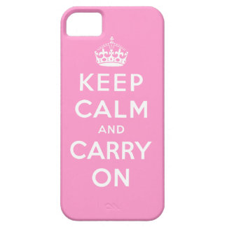 Pink White Keep Calm and Carry On iPhone 5 Case