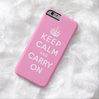 Pink White Keep Calm and Carry On iPhone 6 Case