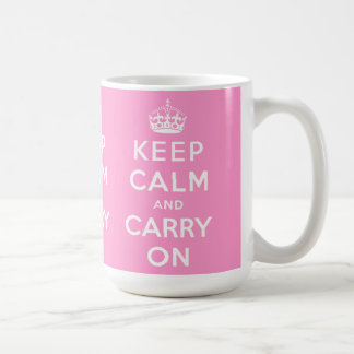 Pink White Keep Calm and Carry On Mugs