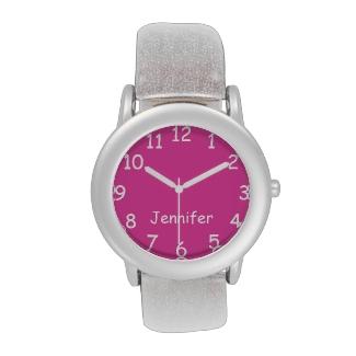 Pink & White Kid's Watch, Silver Glitter Strap