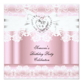 Pink White Lace Bow Diamonds Images Birthday Party Card