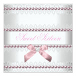 Pink White Lace Pearl Sweet Sixteen 16 Birthday Announcements