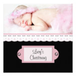 Pink White Lace Pink Black Girl Photo Christening Custom Announcement