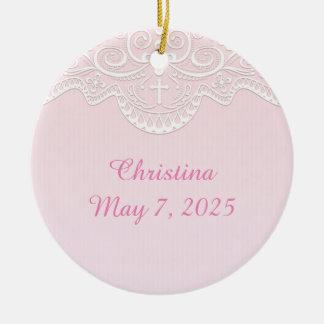Pink, White Lace, Religious Ceramic Ornament