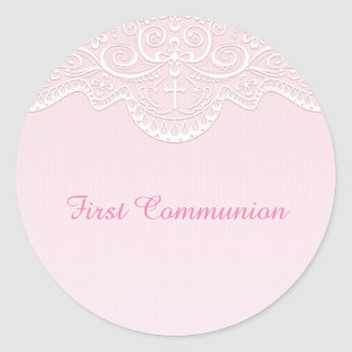 Pink, White Lace, Religious Classic Round Sticker