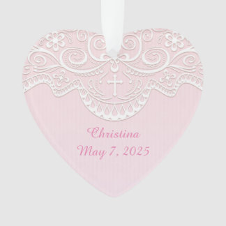 Pink, White Lace, Religious Ornament