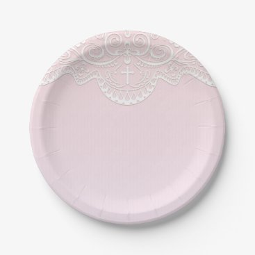 religious Pink, White Lace, Religious Paper Plate