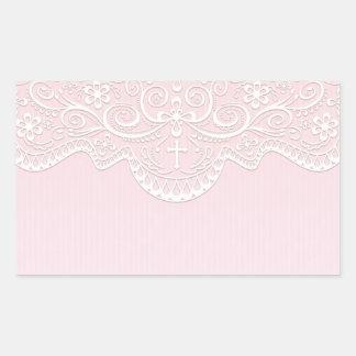Pink, White Lace, Religious Rectangular Sticker