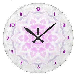 Pink & White Lacy Kaleidoscope Hearts Wall Clock