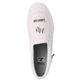 Pink White Lacy Print Personalized Brides Wedding Slip-On Sneakers