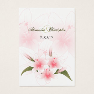 Pink & White Lilies RSVP Minicard Business Card