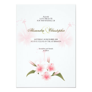 Pink & White Lilies Wedding Save The Date Announce Card