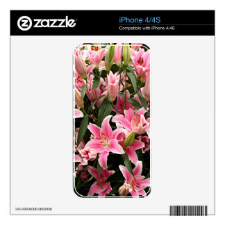 Pink & white liliums iPhone 4S skins