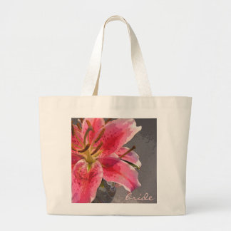 Pink & White Lily Bride's Bag