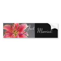 Pink & White Lily Wedding Bumper Sticker
