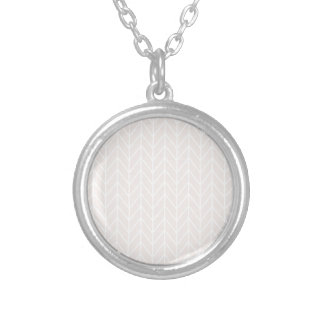 Pink White Line Pattern Silver Plated Necklace