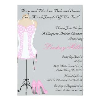 Pink & White Lingerie Bridal Shower Invitation