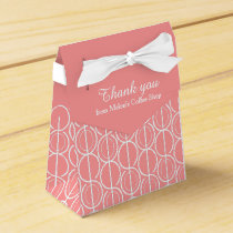 Pink white linked oval pattern thank you gift box