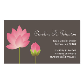 Pink white lotus flower modern gray personal Double-Sided standard business cards (Pack of 100)