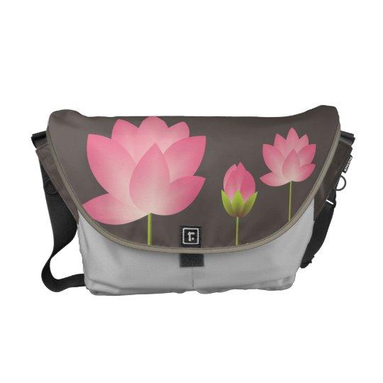 Pink white lotus flowers blossom modern slate gray messenger bag