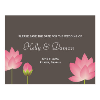 Pink white lotus flowers modern gray save the date postcard
