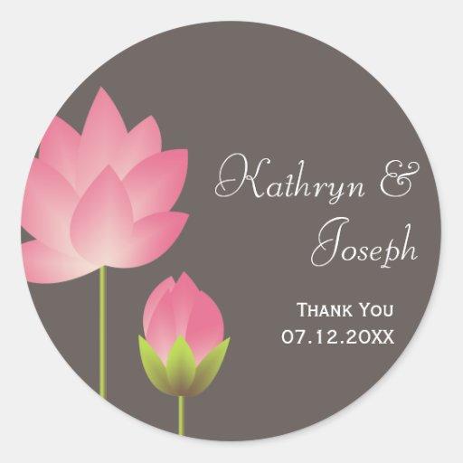 Pink white lotus flowers modern gray wedding favor round sticker