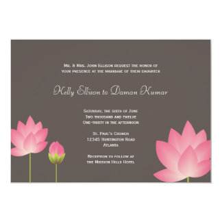 Pink white lotus flowers modern slate gray wedding 5x7 paper invitation card