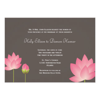 Pink white lotus flowers modern slate gray wedding custom invite