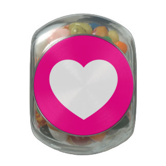 Pink/White Love Heart Jelly Belly Candy Jar