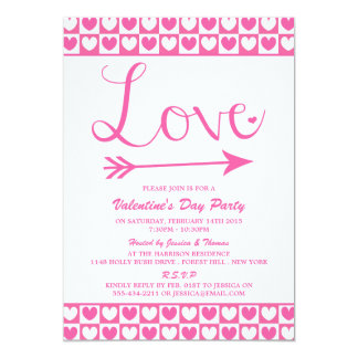 Pink & White Love Hearts Valentine's Day Party 5x7 Paper Invitation Card