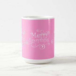 Pink White Merry Everything Holiday Mug