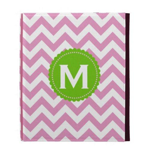 Pink White Monogram Chevron Pattern iPad Folio Cover