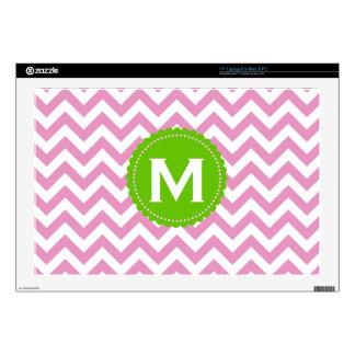 Pink White Monogram Chevron Pattern Decal For Laptop