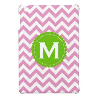 Pink White Monogram Chevron Pattern iPad Mini Case